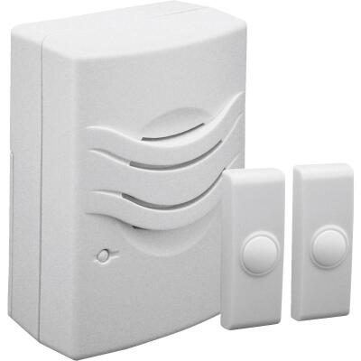 IQ America 2-Push Button Plug-In Wireless White Door Chime