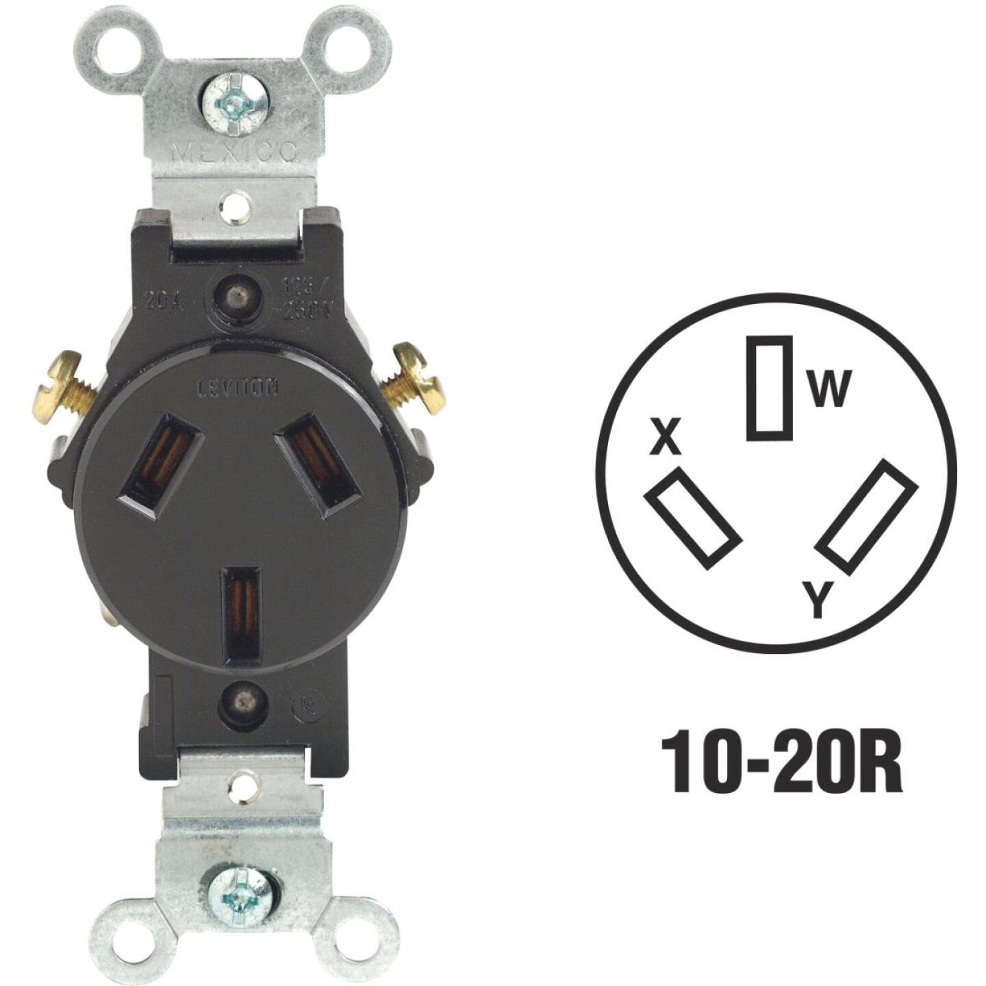 Leviton 20A Black Commercial Grade 10-20R Non-Grounding Single Outlet Image 1