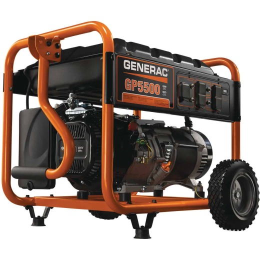 Generac 5500W Gasoline Powered Recoil Pull Start Portable Generator