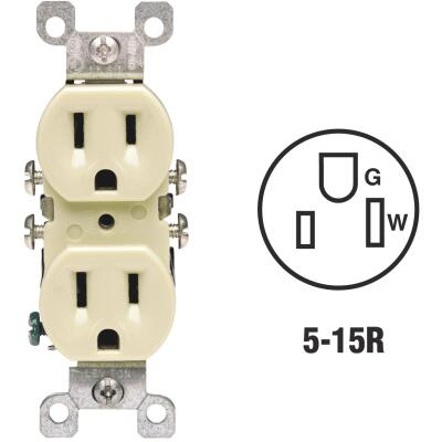 Leviton 15A Ivory Residential Grade 5-15R Copper/Aluminum Duplex Outlet