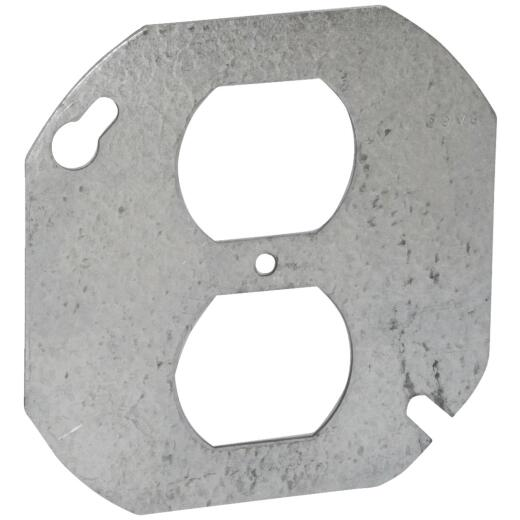 Raco 4 In. Duplex Receptacle Gray Round Box Cover
