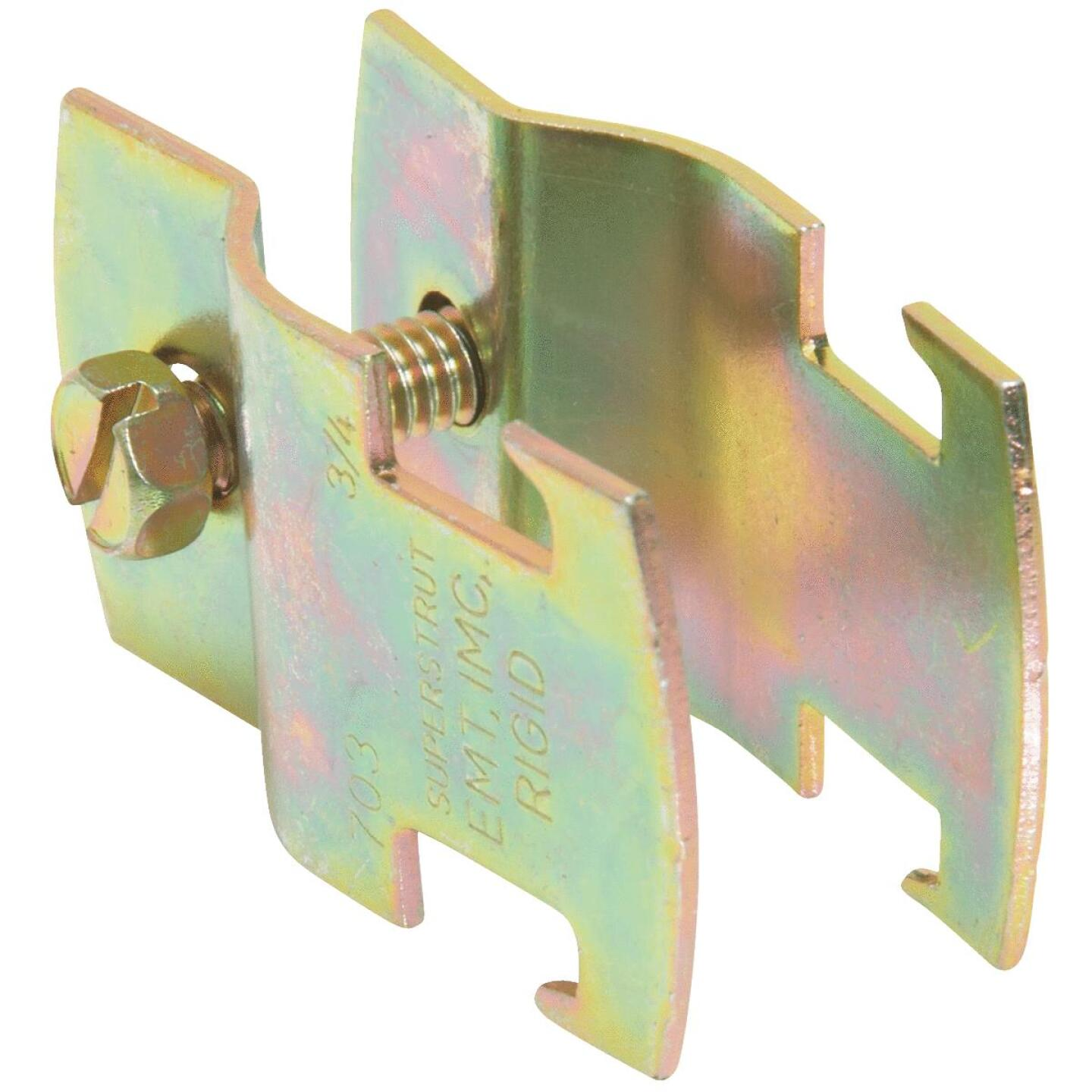 Superstrut 3/4 In. Gold Galvanized Electroplated Zinc Universal Pipe Clamp Image 1