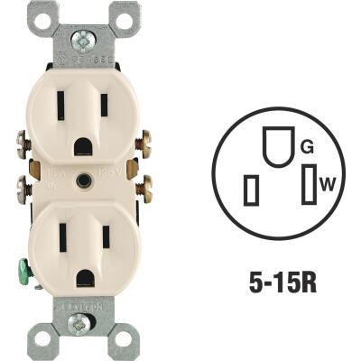 Leviton 15A Light Almond Shallow Grounded 5-15R Duplex Outlet