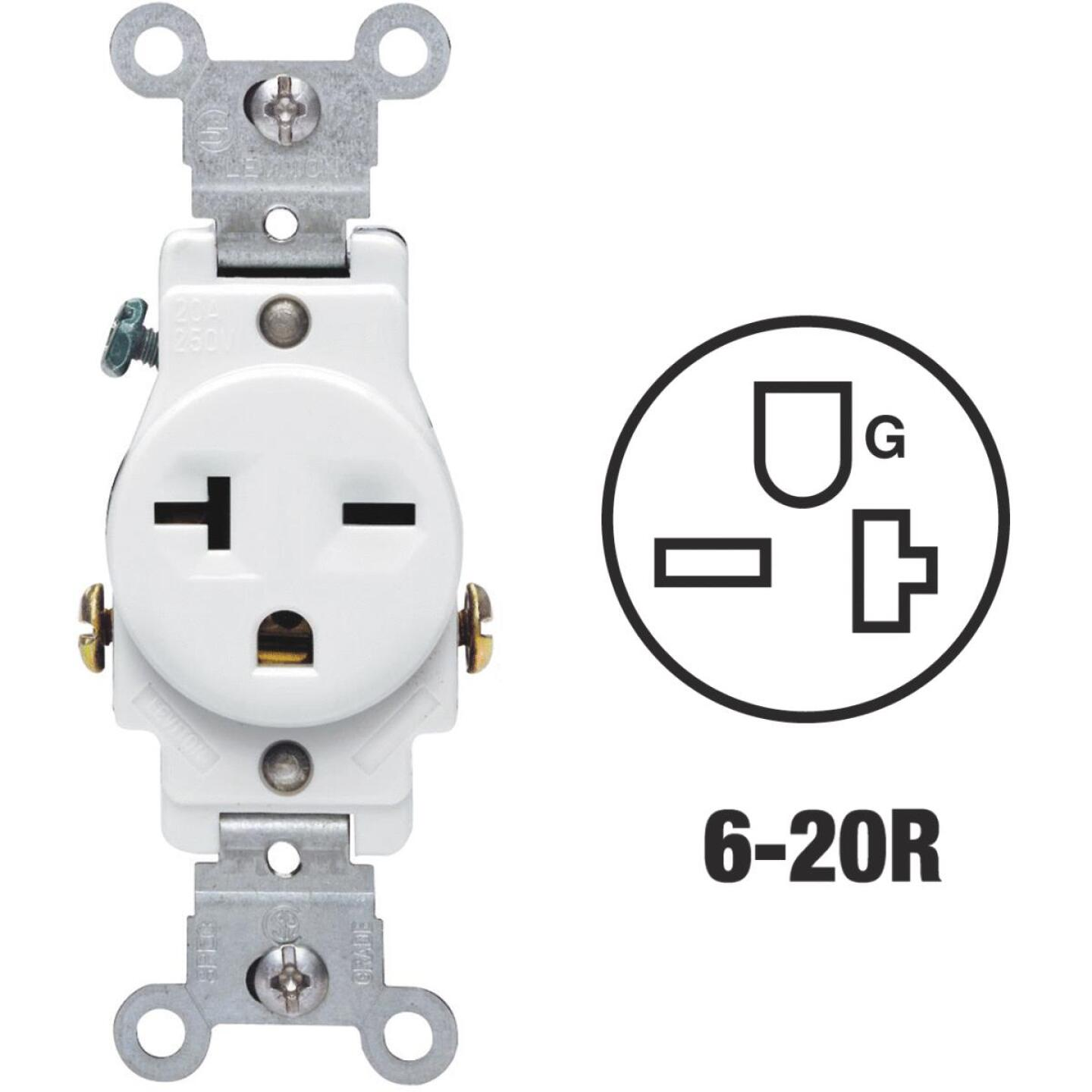 Leviton 20A White Heavy-Duty 6-20R Grounding Single Outlet Image 1