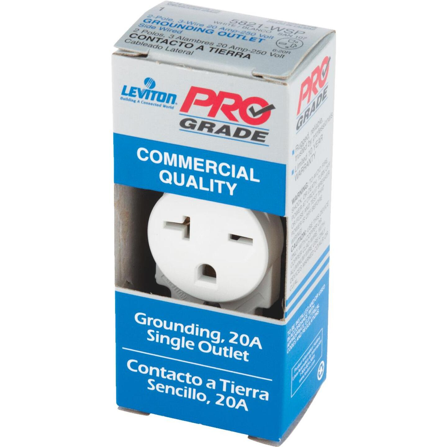 Leviton 20A White Heavy-Duty 6-20R Grounding Single Outlet Image 3