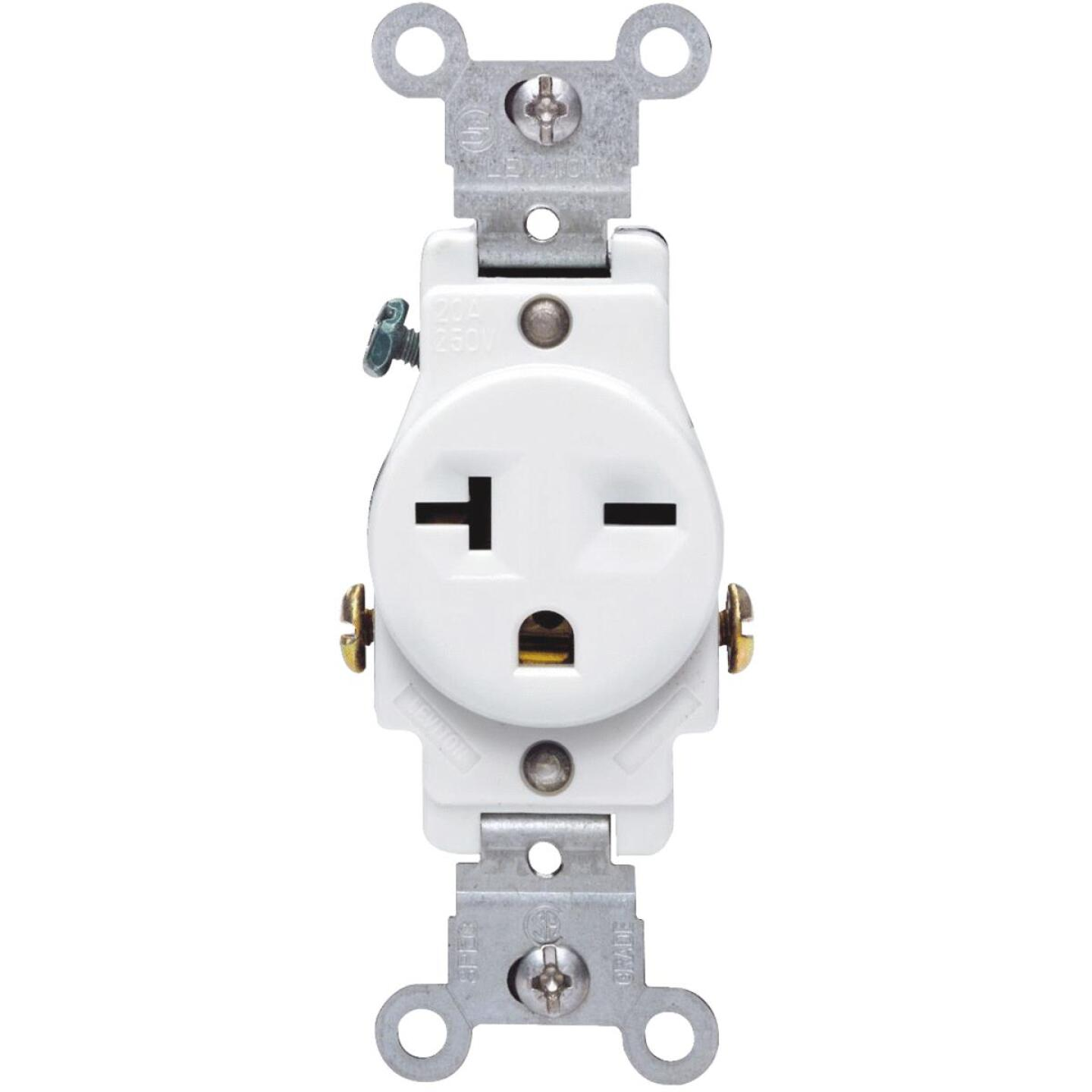 Leviton 20A White Heavy-Duty 6-20R Grounding Single Outlet Image 4