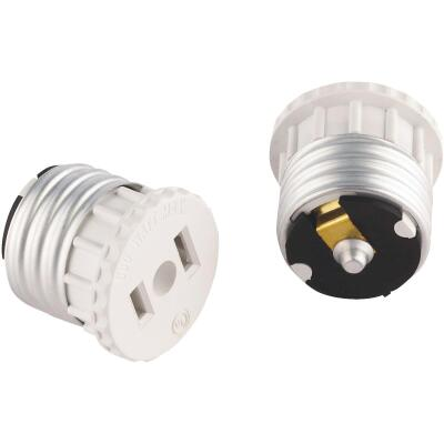 Leviton 600W 120V White Light Socket Adapter (2-Pack)