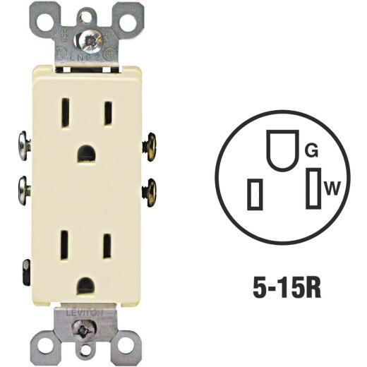 Leviton Decora 15A Ivory Residential Grade 5-15R Duplex Outlet