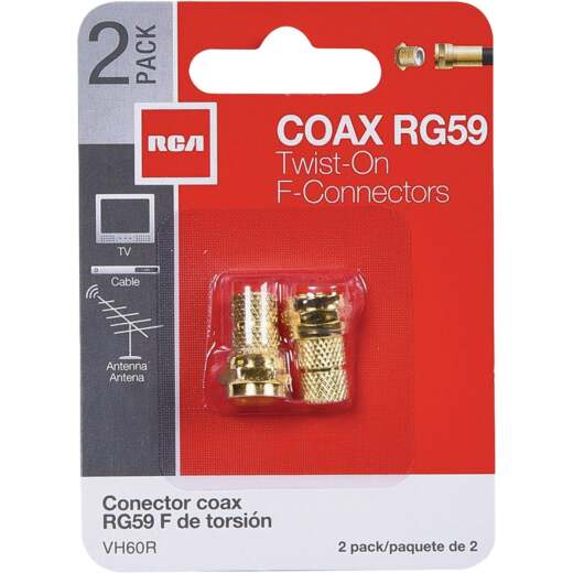 RCA RG59 Coaxial F-Connector (2-Pack)