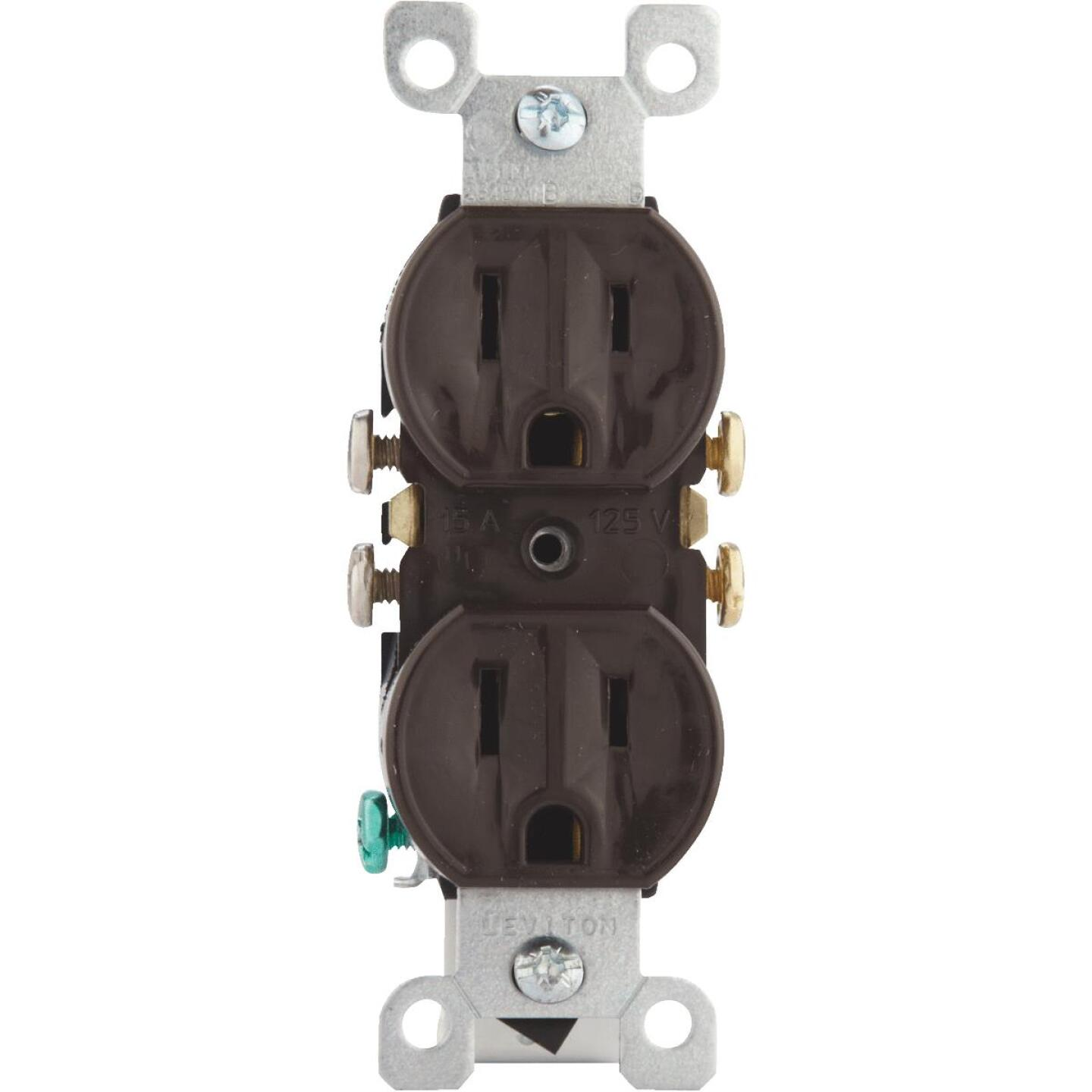 Leviton 15A Brown Shallow Grounded 5-15R Duplex Outlet Image 2