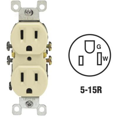 Leviton 15A Ivory Shallow Grounded 5-15R Duplex Outlet