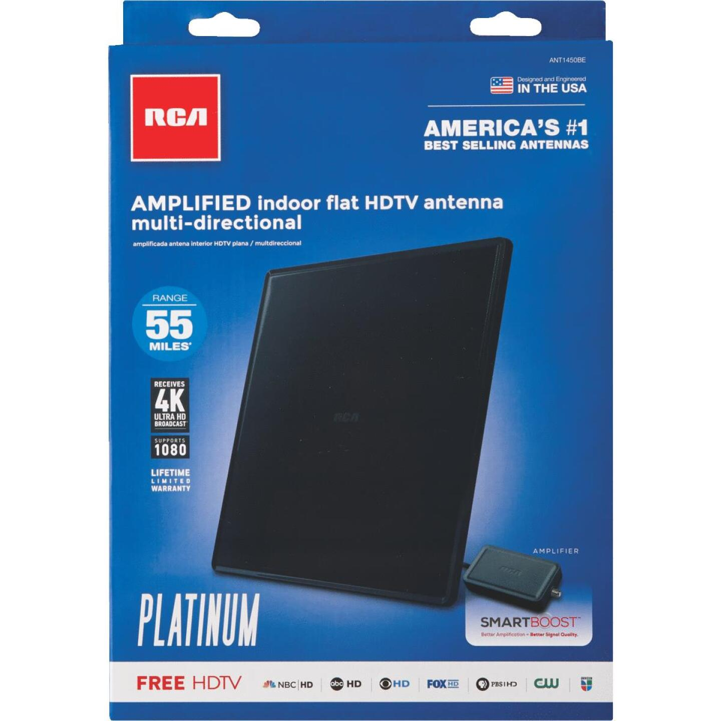 RCA Platinum Series Black 8.53 In. Amplified Flat Indoor Antenna Image 2