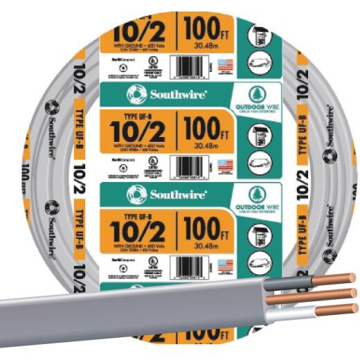 Southwire 100 Ft. 10 AWG 2-Conductor UFW/G Wire