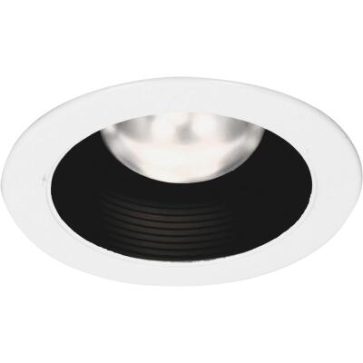 Thomas 4 In. White Trim w/Black Baffle Recessed Fixture Trim