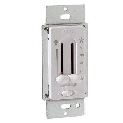 Hunter White 4-Speed/Full Range Dimmer Dual Slide Fan Control Switch