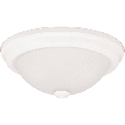 Home Impressions 13 In. White Incandescent Flush Mount Ceiling Light Fixture with Frosted Swirl Glass