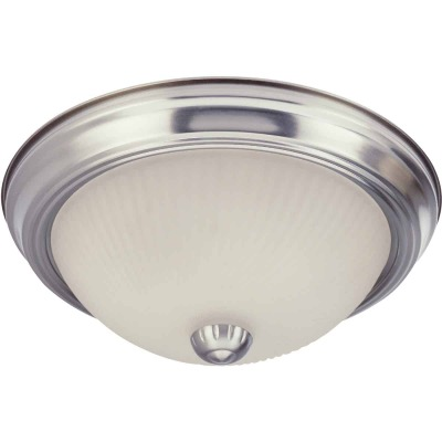 Home Impressions 13 In. Brushed Nickel Incandescent Flush Mount Ceiling Light Fixture with Frosted Swirl Glass