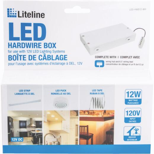 Liteline White Hardwire LED Under Cabinet Light Fixture Box