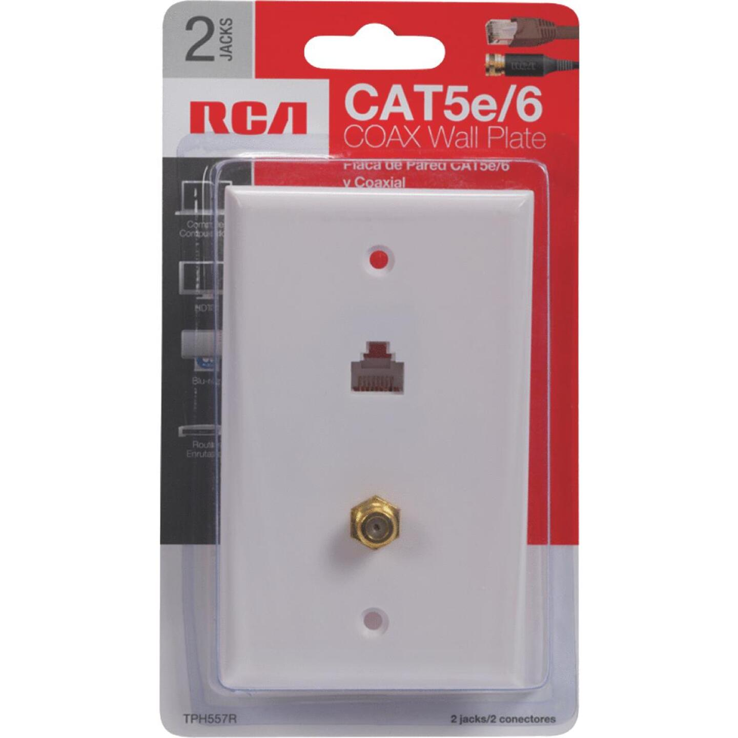RCA White CAT 5/6 Single Coaxial Wall Plate Image 2