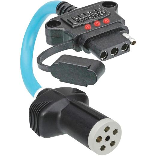 Reese Towpower Professional 6-Pin Round to 4-Flat Flex Plug-In Adapter with LED Tester