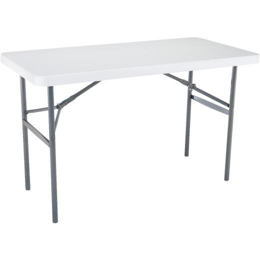 Lifetime 4 Ft. x 24 In. White Granite Light Commercial Folding Table