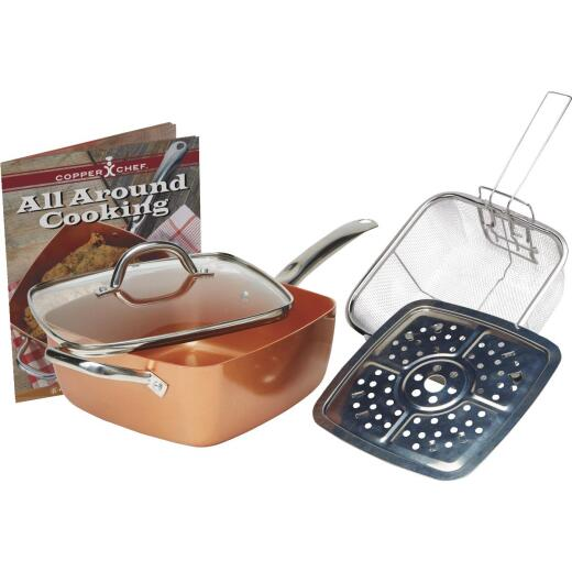 Copper Chef 9.5 In. Copper Non-Stick Square Fry Pan with Lid