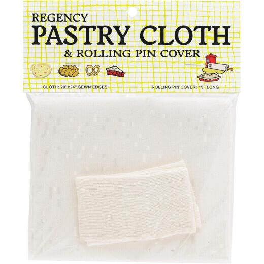 Regency 20 In. x 24 In. Pastry Cloth & 15 In. Cotton Rolling Pin Cover Set