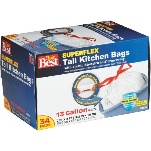 Do it Best Superflex 13 Gal. Tall Kitchen White Trash Bag (34-Count)