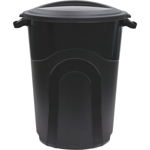 United Solutions Rough & Rugged 32 Gal. Black Trash Can with Lid