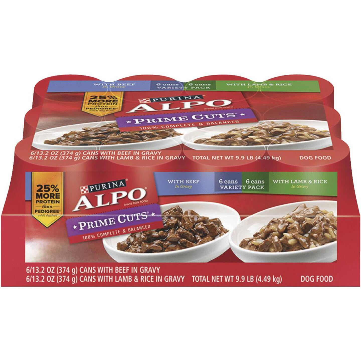 Alpo Prime Cuts Beef and Lamb & Rice Wet Dog Food, 12 Cans Image 1