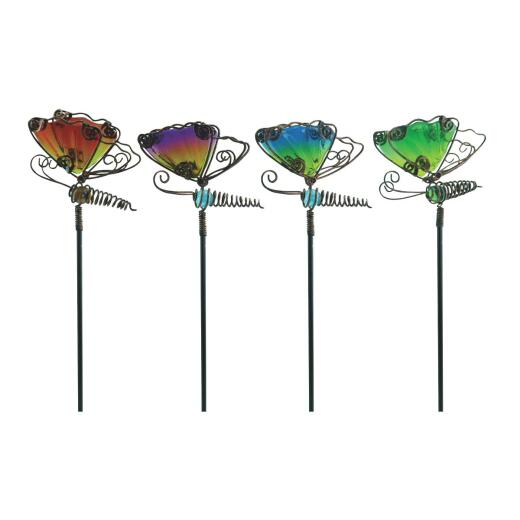 Alpine 15 In. H. Metal & Glass Wiggle Motion Butterfly Garden Stake Lawn Ornament