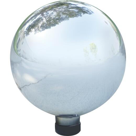 Alpine 12 In. Electric Silver Glass Gazing Globe Lawn Ornament