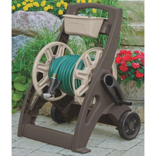 Suncast Hosemobile 225 Ft. x 5/8 In. Taupe & Bronze Resin Hose Reel with Storage Bin