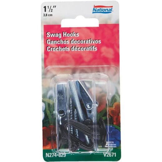 National 1-1/2 In. Black Die Cast Swag Hook (2-Pack)
