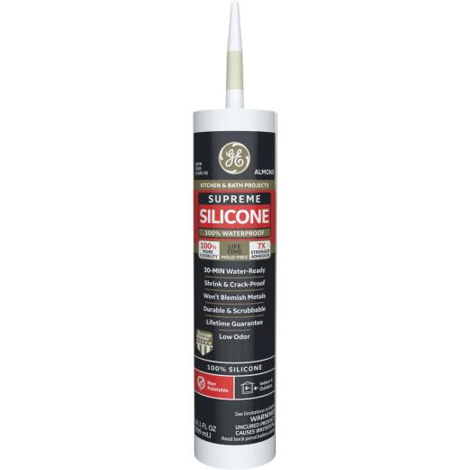 GE Supreme Silicone Kitchen & Bath Sealant, Almond, 10.1oz