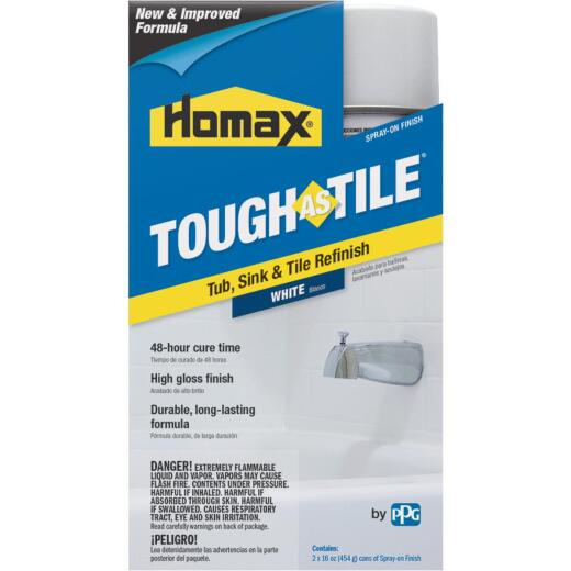 Homax Tough as Tile 16 Oz. White High Tub & Tile Spray Paint Finish (2-Pack)