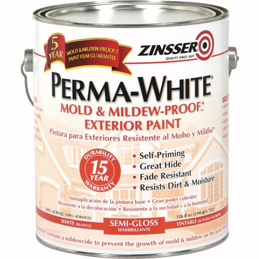 Zinsser Perma-White White-Tintable Semi-Gloss Gallon Mildew Paint