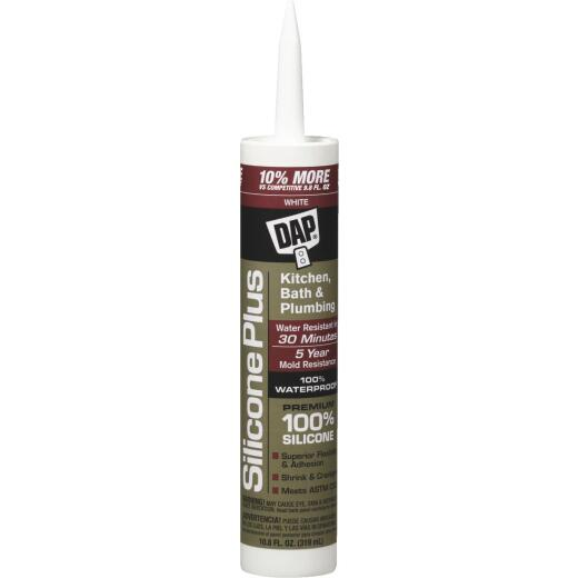 DAP Silicone Plus 10.8 Oz. White Premium Kitchen & Bath Silicone Sealant