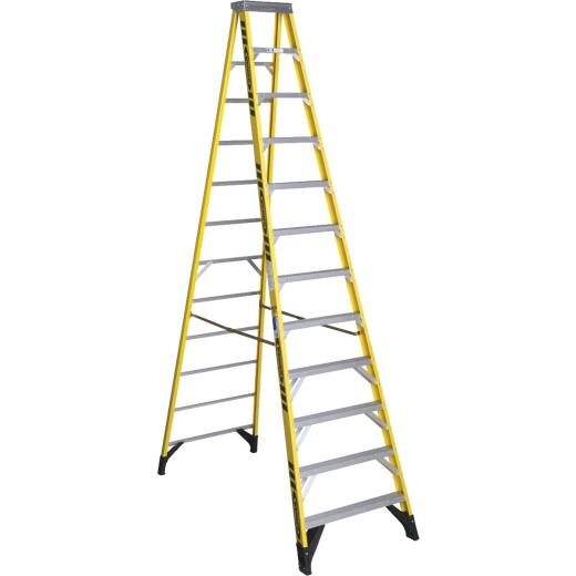Werner 12 Ft. Fiberglass Step Ladder with 375 Lb. Load Capacity Type IAA Ladder Rating