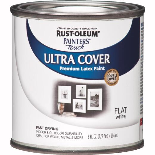 Rust-Oleum Painter's Touch 2X Ultra Cover Premium Latex Paint, Flat White, 1/2 Pt.