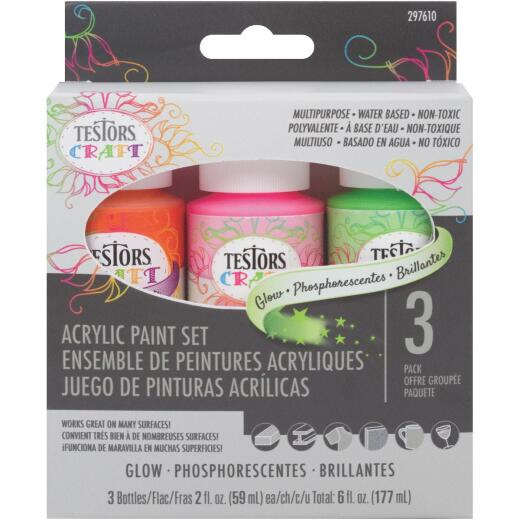 Testors Craft 2 Oz. Acrylic Glow Paint Kit (3 Pack)