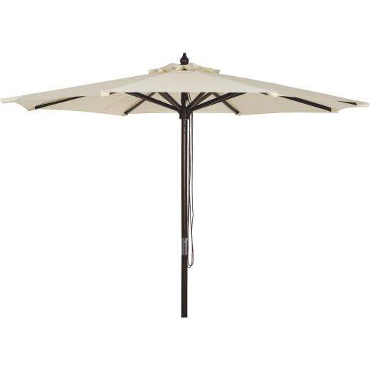 Outdoor Expressions 7.5 Ft. Pulley Cream Market Patio Umbrella with Chrome Plated Hardware