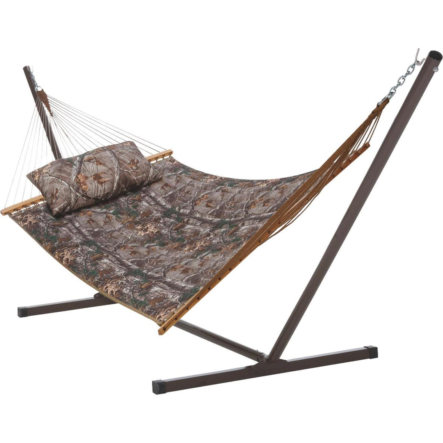 Castaway RealTree Quilted Hammock with Pillow & Stand Image 1