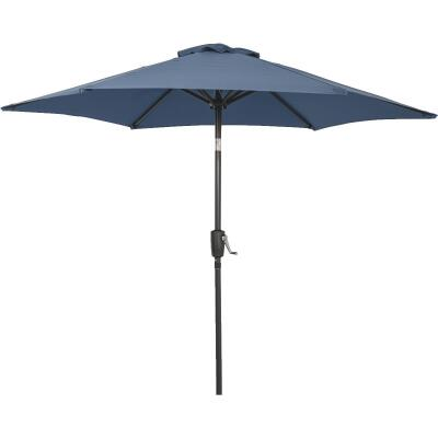Outdoor Expressions 7.5 Ft. Aluminum Tilt/Crank Heather Blue Patio Umbrella