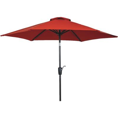 Outdoor Expressions 7.5 Ft. Aluminum Tilt/Crank Crimson Red Patio Umbrella