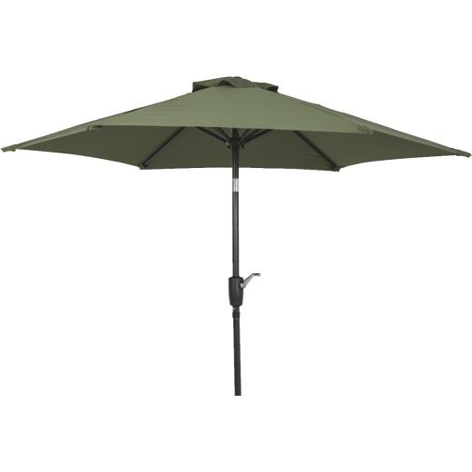 Outdoor Expressions 7.5 Ft. Aluminum Tilt/Crank Heather Green Patio Umbrella