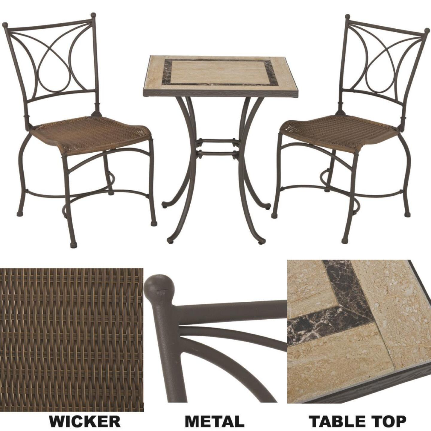Florence 3-Piece Bistro Set with Wicker Seats Image 1