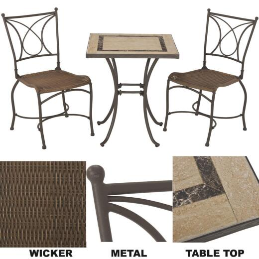 Florence 3-Piece Bistro Set with Wicker Seats