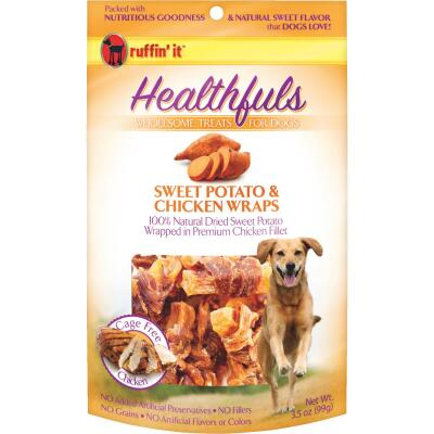 Ruffin' it Healthfuls Sweet Potato & Chicken Flavor Chewy Dog Treat, 3.5 Oz.