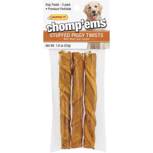 Ruffin' it Chomp'ems Pork Flavor Chewy Dog Treat (3-Pack)